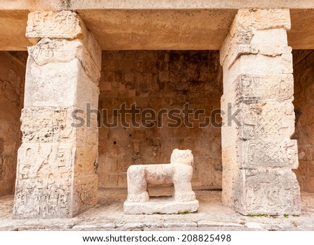 Ancient Maya archaeological site  in Chichen Itza temple, Mexico. - stock photo
