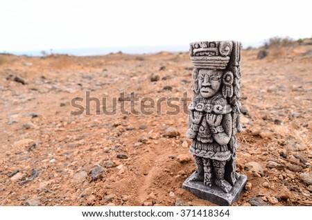 Ancient Maya Statue - stock photo