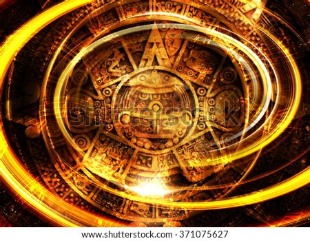 Ancient Mayan Calendar and  Music note, Cosmic space with stars, abstract color Background, computer collage
