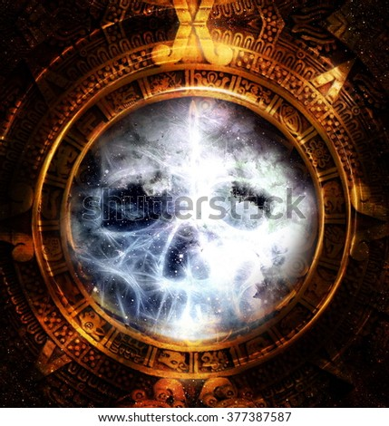 Ancient Mayan Calendar and skull,  and fractal and ice effect. abstract color Background