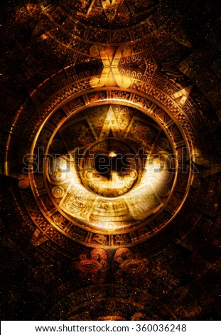 Ancient Mayan Calendar and woman eye,  abstract color Background, computer collage. Eye in circle light.