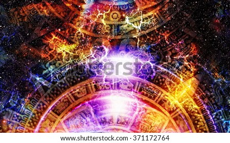 Ancient Mayan Calendar, Cosmic space and stars, abstract color Background, computer collage