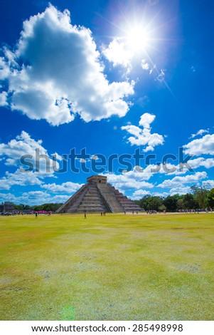 Ancient Mayan civilization historical ruins. Kukulcan Temple at Chichen Itza, Yucatan, Mexico. - stock photo