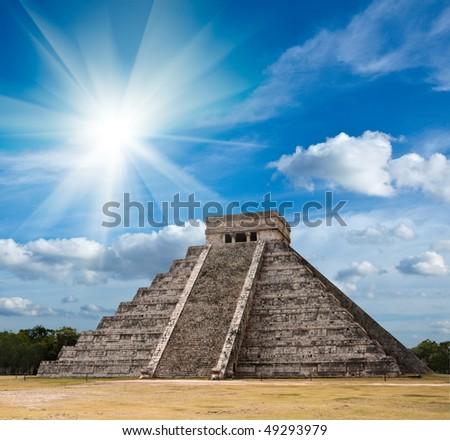 Ancient mayan pyramid in Chichen-Itza, Mexico - stock photo