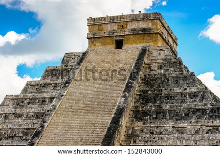 Ancient Mayan Pyramid in the Center of Chichen Itza, a large pre-Columbian city built by the Maya civilization. Mexico - stock photo