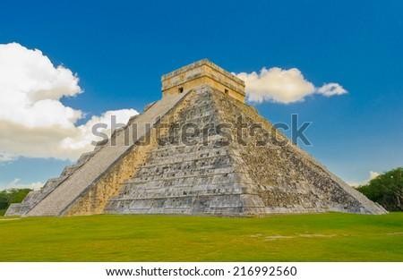 Ancient Mayan pyramid, Kukulcan Temple at Chichen Itza, Yucatan, Mexico. Historical ruins, pyramid of ancient civilization of Maya. - stock photo