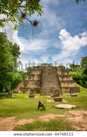 Ancient Mayan Ruins in the Country of Belize - stock photo