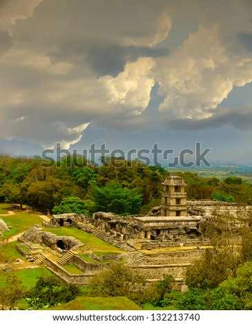 ancient mayan ruins Palenque and cloudy sky, Mexico - stock photo