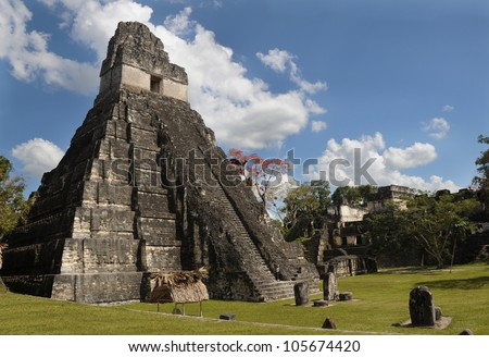 ancient mayan ruins, peten basin, tikal, guatemala , latin america, old pyramids - stock photo