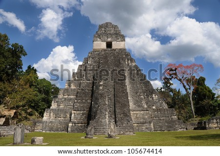 ancient mayan ruins, peten basin, tikal, guatemala , latin america, old pyramids architecture civilization - stock photo