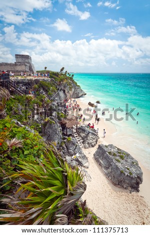 Ancient Mayan ruins temple on the beach of Tulum, Mexico