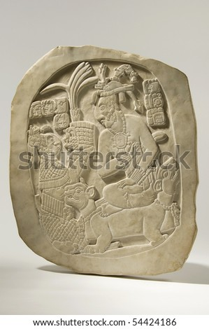 Ancient Mayan Stele Isolated - stock photo