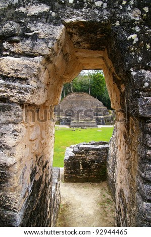 Ancient Mayan temple ruins in Caracol, Belize - stock photo