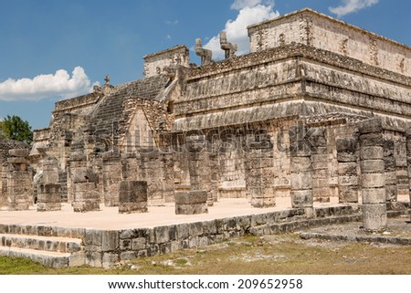 ancient Mayan temple ruins on a sunny day - stock photo