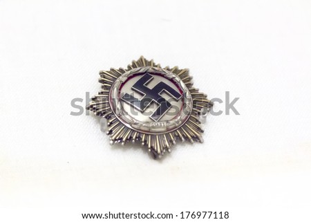 Ancient medals and military decorations - stock photo