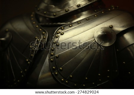 Ancient medieval armor crusader close to - stock photo