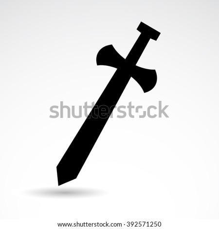 Ancient, medieval, historic weapon. Sword icon isolated on white background. - stock photo