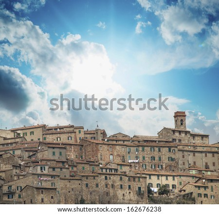 Ancient medieval town of Tuscany, Italy. Aerial view in spring. - stock photo