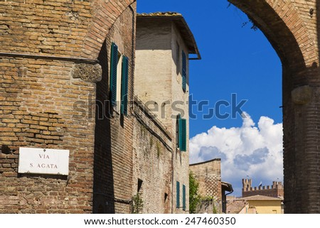 Ancient medieval wall of Siena, Italy , Tuscany.