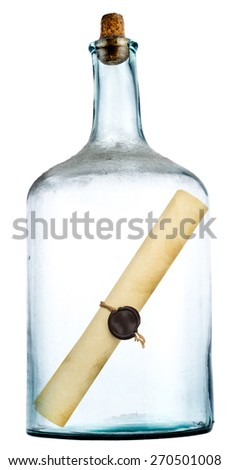 ancient message in a glass bottle - stock photo
