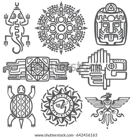Ancient Mexican Mythology Symbols American Aztec Stock Illustration