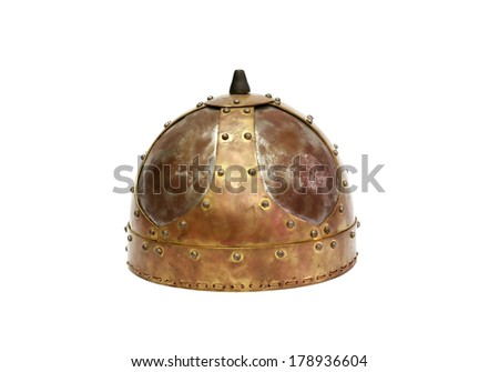 Ancient military helmet on white background. Clipping path is included - stock photo