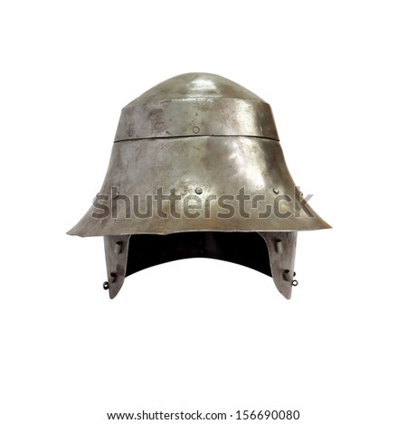 Ancient military iron Knight helmet on white background. Isolated with clipping path - stock photo