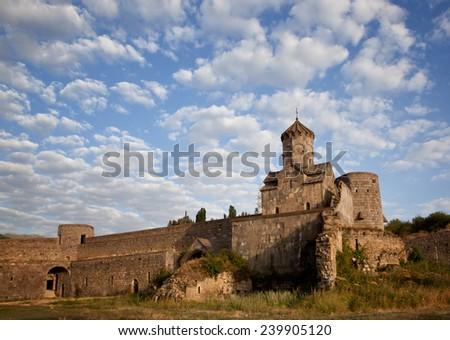 Ancient monastery of Tatev in Armenia in the morning light - stock photo