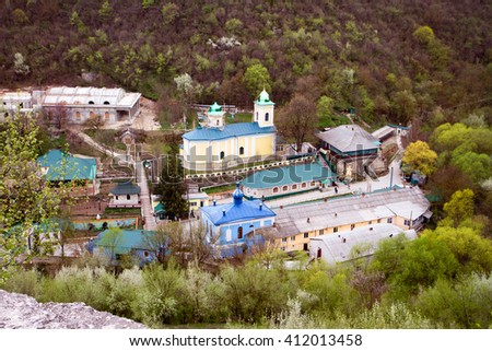 Ancient monastery. Village Saharna, winter. - stock photo