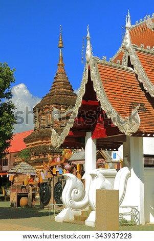 ancient monument is a Buddhist temple in Thailand - stock photo