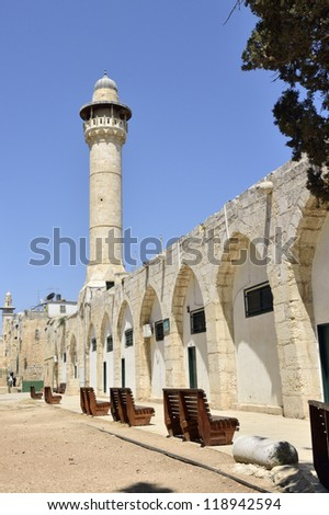 Ancient mosque spire on Temple Mount in Jerusalem, Israel.