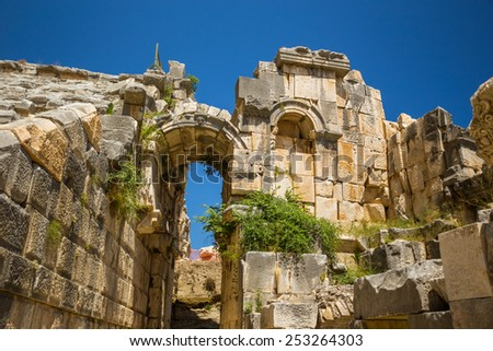 Ancient Myra amphitheater ruins at Turkey Demre. Antalia region.
