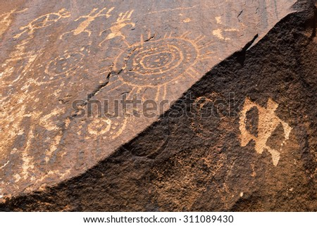 Ancient Native American Petroglyphs of bighorn sheep, Little Black Mountain Petroglyph site, Utah