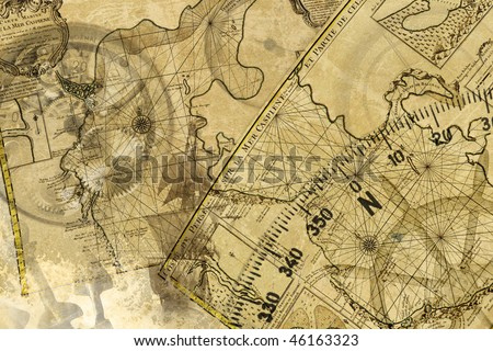 ancient nivigation, ships, maps, instrument and other - stock photo