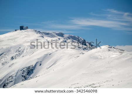 Ancient observatory in the Carpathian mountains - stock photo