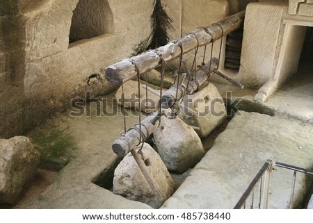 Ancient olive oil press, Beit Guvrin, Israel