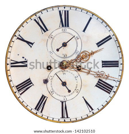 Ancient ornamental clock face with roman numbers isolated on a white background - stock photo