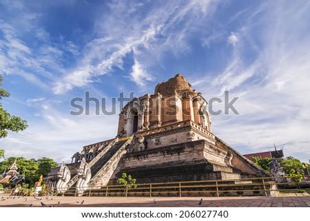 Ancient pagoda at Wat Chedi Luang temple in Chiang Mai, Thailand  - stock photo