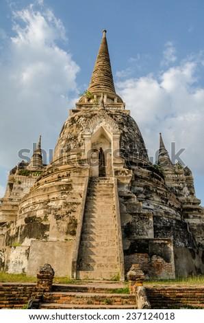 Ancient pagoda at Wat Phra Si Sanphet temple in Ayutthaya historical park, Thailand - stock photo