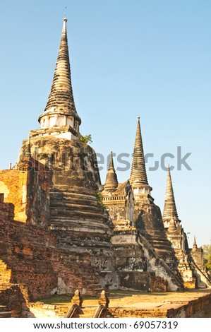 Ancient pagoda with blue sky at Wat Phrasrisanphet temple, Thailand.