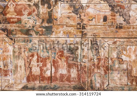 ancient painting on wood - stock photo