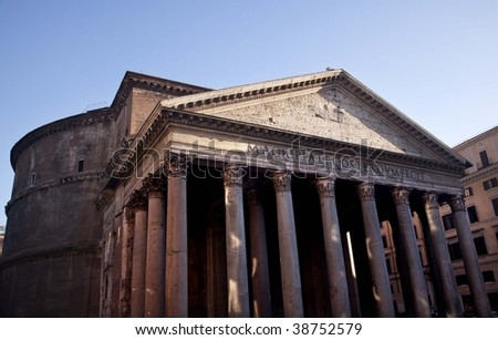 Ancient Pantheon Outside, Rome Italy Oldest Church in the World Built in 27BC by Agrippa and rebuilt in the Second Century AD by Hadrian.  Oldest dome building in the world - stock photo