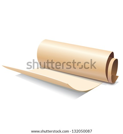 Ancient paper roll icon isolated on white background
