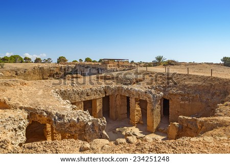 Ancient Paphos necropolis known as Tombs of the Kings, Cyprus. - stock photo