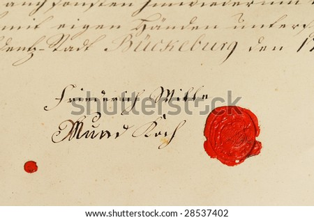 Ancient parchment manuscript with wax seal - stock photo