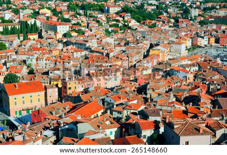 Ancient part of the Rovinj city. View of the city from the Basilica of the Old Town. Istria, Croatia - stock photo