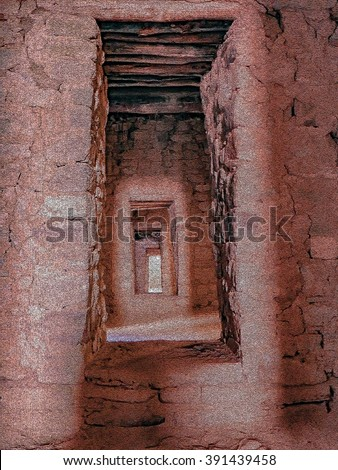 Ancient Passages at Aztec Ruins National Park - stock photo