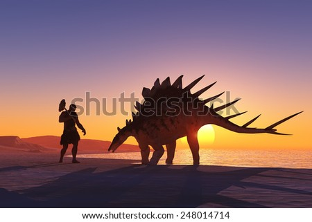 Ancient people against the evening landscape. - stock photo