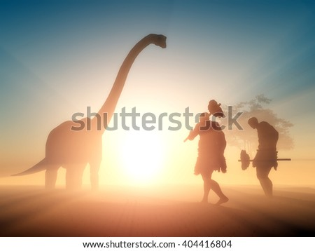 Ancient people against the evening landscape..3d render - stock photo