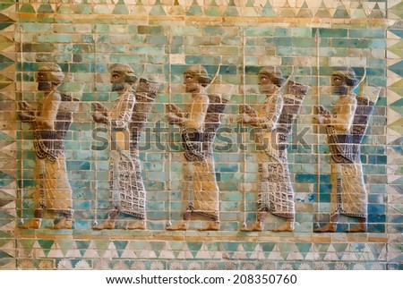Ancient Persian Achaemenid soldiers from 500 BC illustration - stock photo